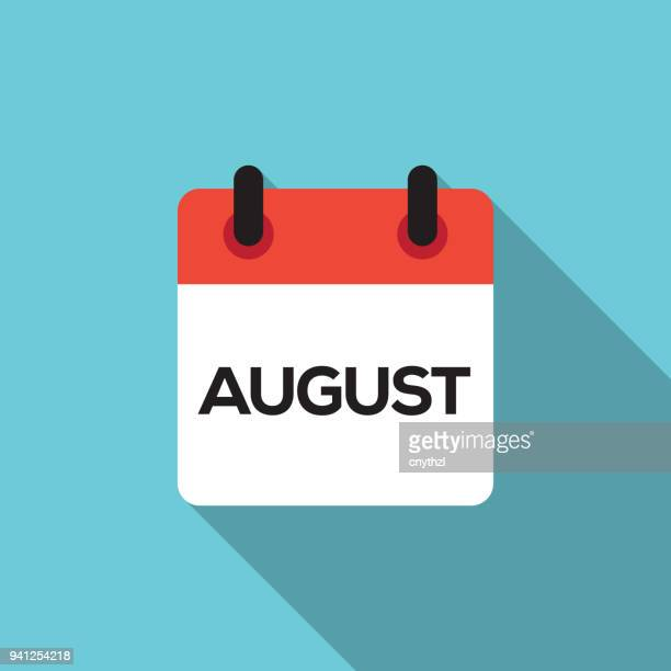 flat calendar design - august - june stock illustrations
