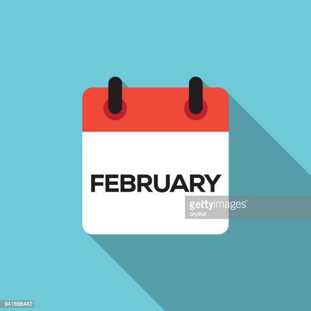 flat calendar design - february - january stock illustrations