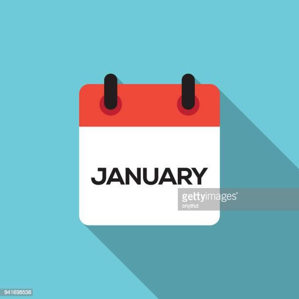 flat calendar design - january - january stock illustrations