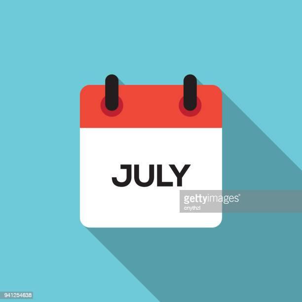 flat calendar design - july - june stock illustrations