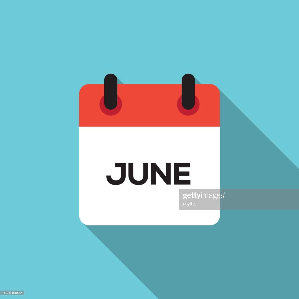 Flat Calendar Design - June