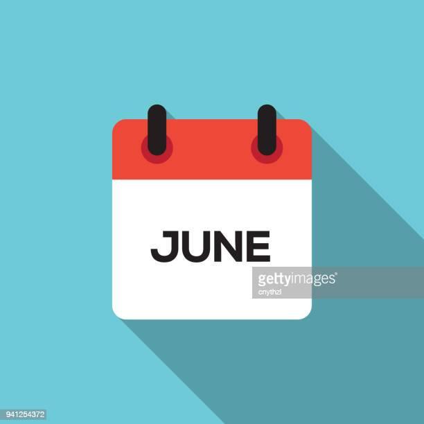 フラット カレンダーのデザイン - 6 月 - 六月点のイラスト素材/クリップアート素材/マンガ素材/アイコン素材