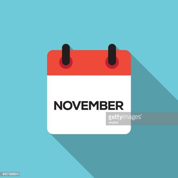illustrations, cliparts, dessins animés et icônes de calendrier plat design - novembre - mois de mai