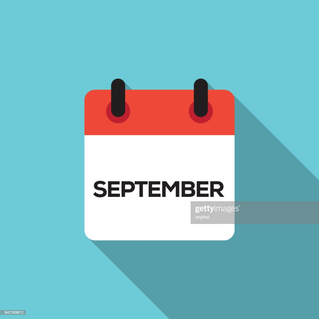 Flat Calendar Design - September : stock illustration