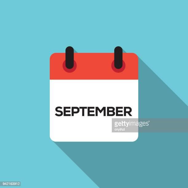 flat calendar design - september - august stock illustrations