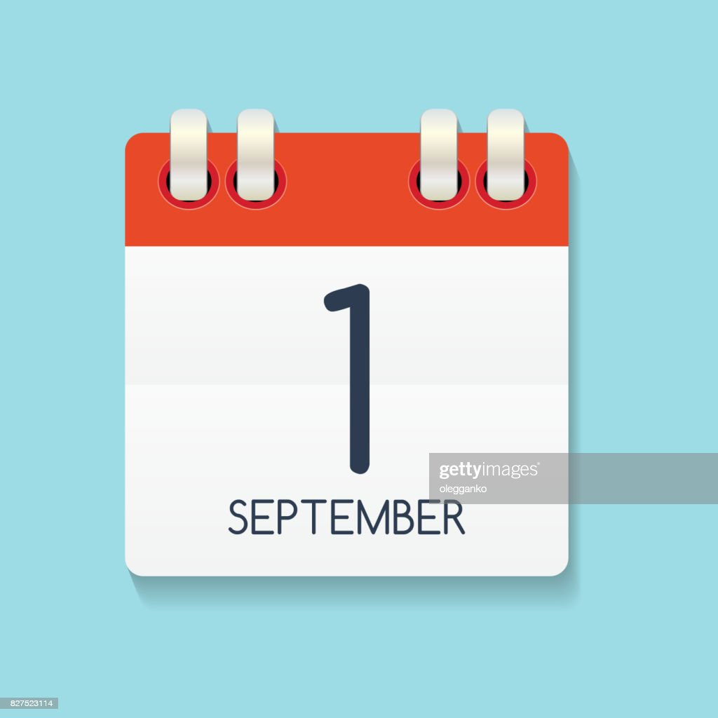 Flat Calendar Icon of 1 September. Vector Illustration