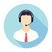 Flat Call Center Icon