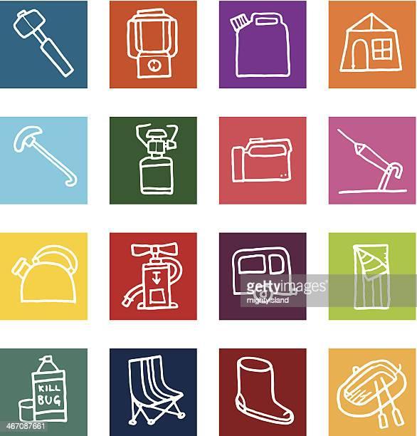 illustrations, cliparts, dessins animés et icônes de plat icônes de camping - matelas pneumatique