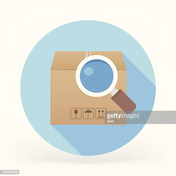 Flat Cargo Search Icon