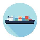 Flat Cargo Ship Icon