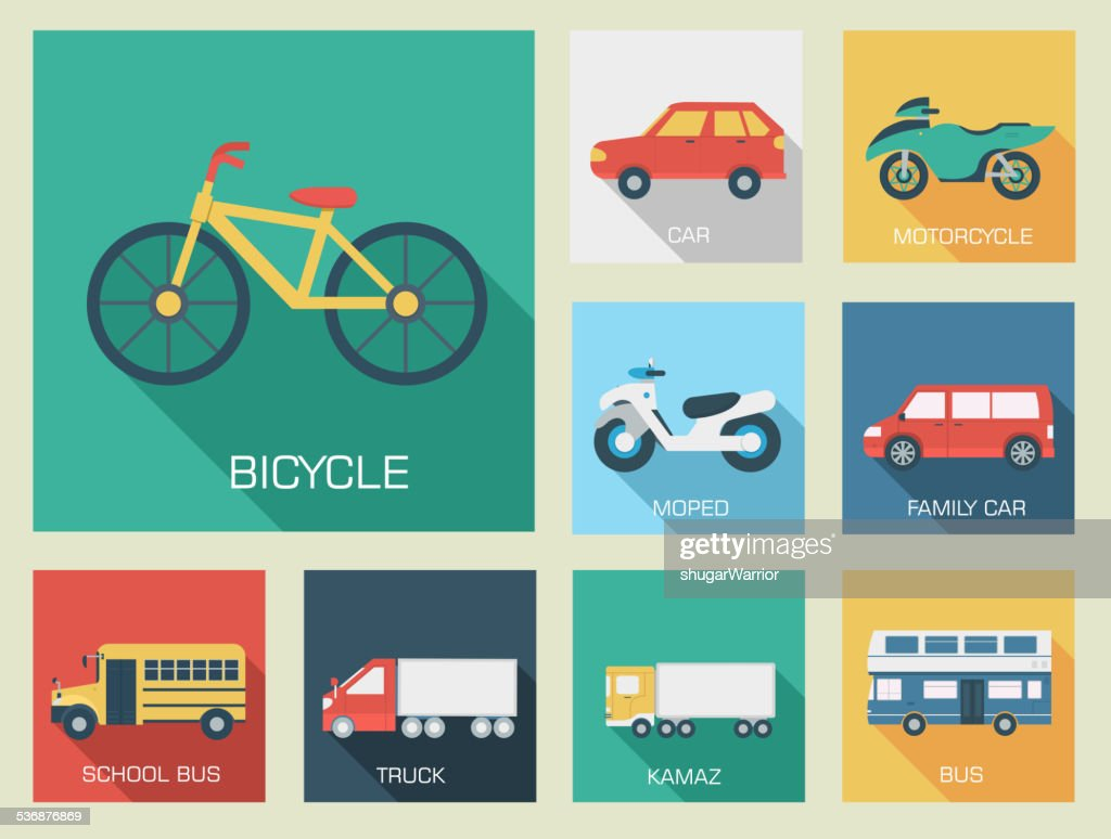 Flat cars set icon backgrounds. Tamplate for web and mobile
