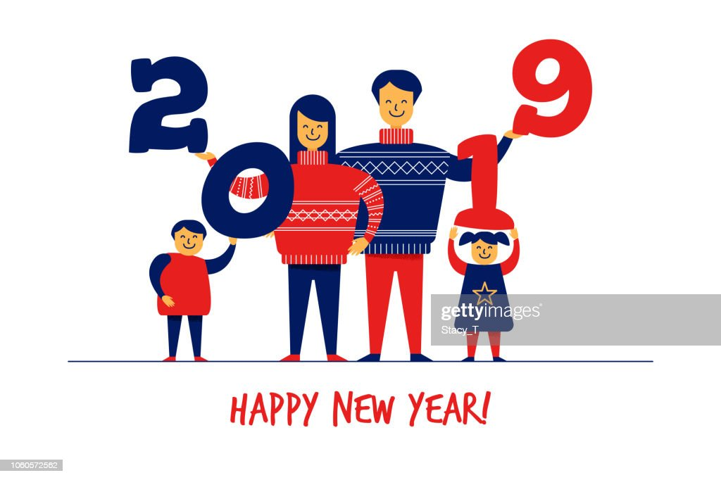 Flat cartoon boy,girl,family characters,New Year Merry Christmas greeting card banner concept.Happy smiling flat people in sweaters with 2019 numbers in hands,celebration postcard