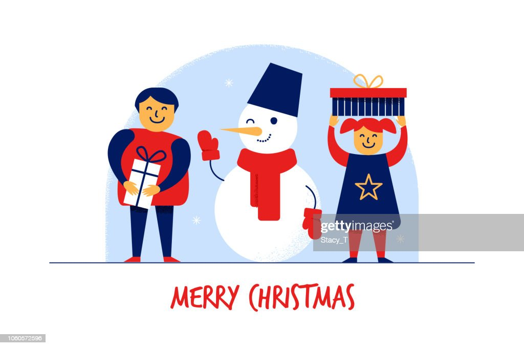 Flat cartoon boy,girl,Snowman characters,Merry Christmas New Year greeting card banner concept.Popular winter mascot,Happy smiling flat kids with gift boxes,celebration postcard