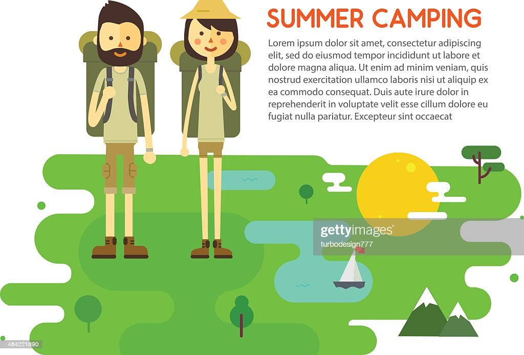 Flat cartoon couple with hiking equipment isolated on white background