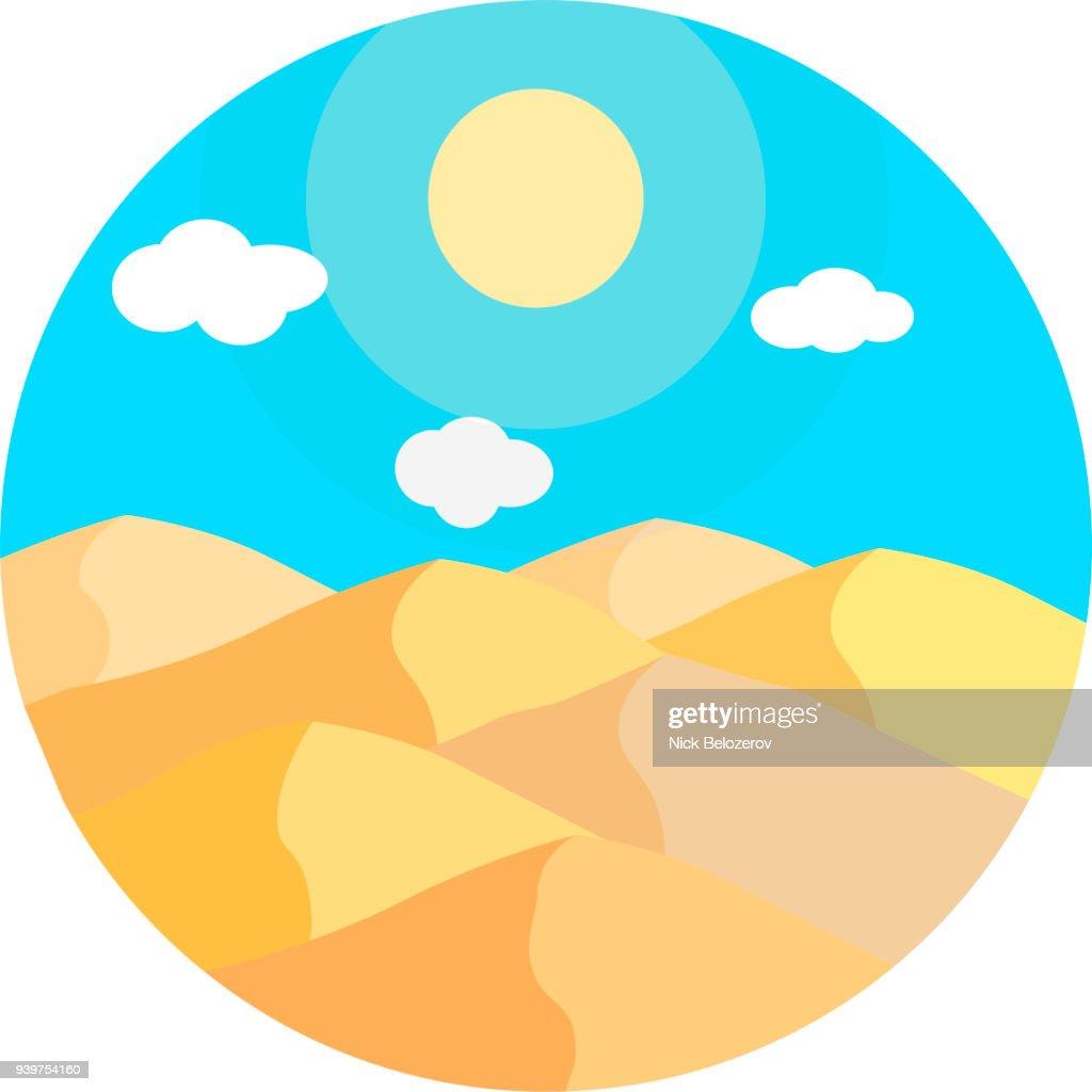 Flat cartoon desert sunset landscape in circle. Background vector illustration