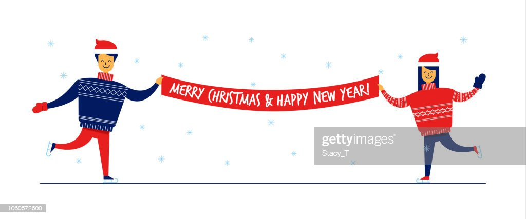 Flat cartoon family characters in sweaters with Merry Christmas and Happy New Year banner,greeting card concept.Flat small people dancing,ice skating,happily celebrating winter holidays