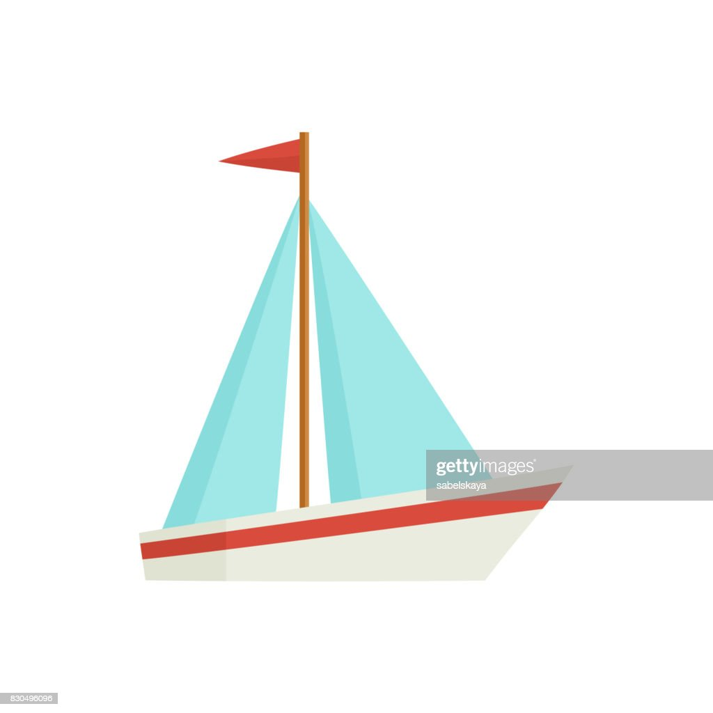 Flat cartoon little sailing ship, boat, sailboat