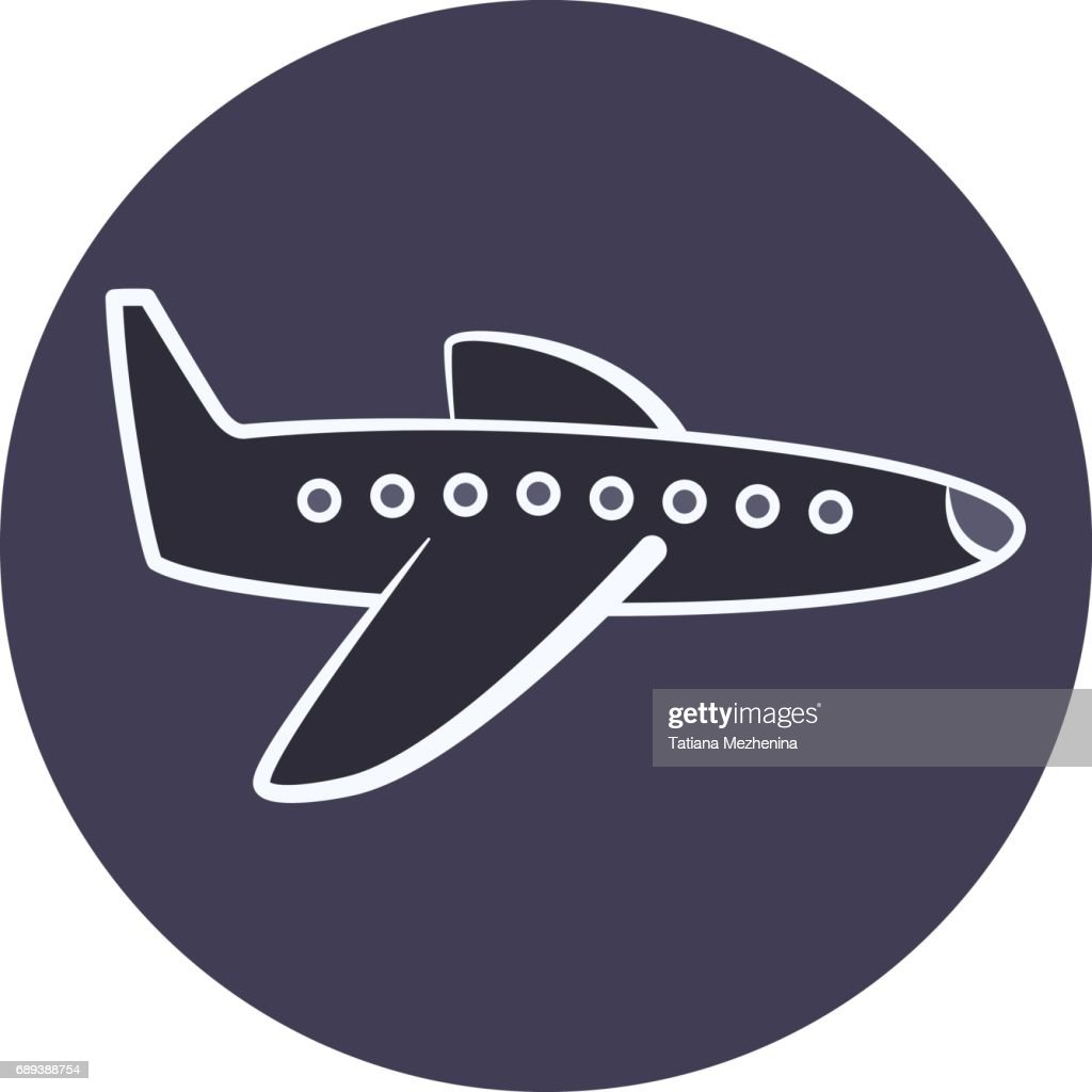 Flat cartoon plane icon, airplane symbol