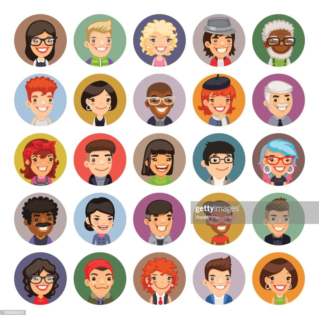 Flat Cartoon Round Avatars on Color