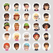 Flat Cartoon Round Avatars on White