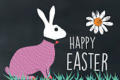 flat chalk illustration of easter bunny on chalk board