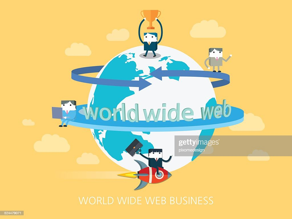 flat character world wide web business concept illust