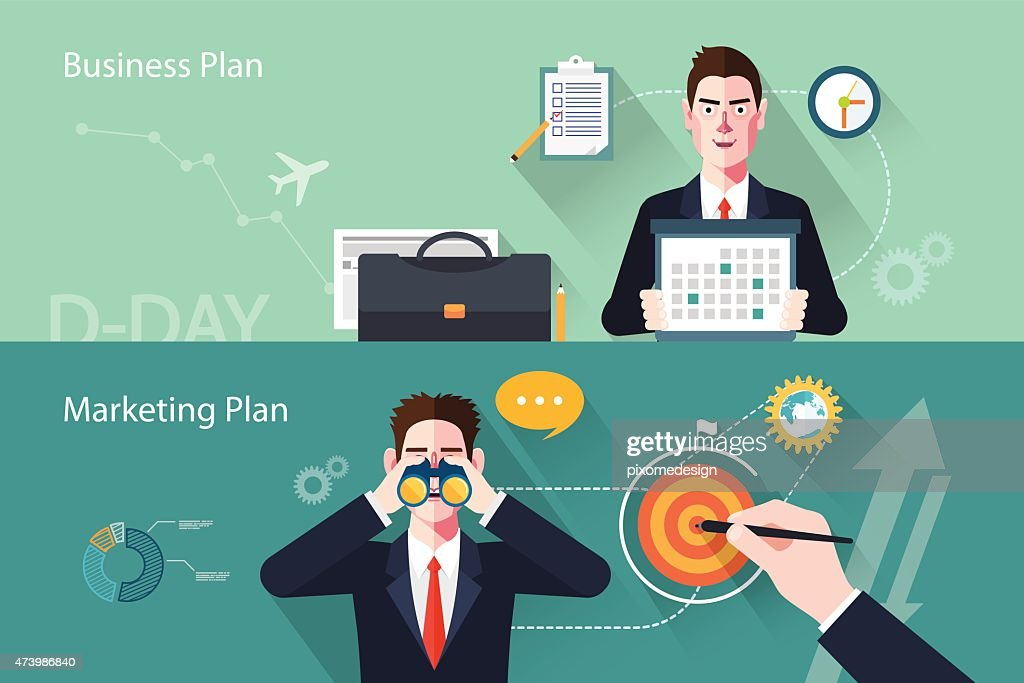Flat characters of business plan concept illustrations