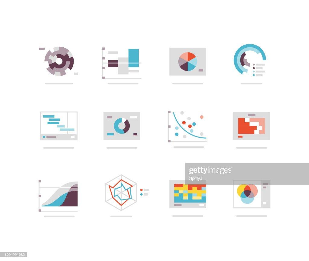 Platte grafieken en grafiek pictogram serie : Stockillustraties