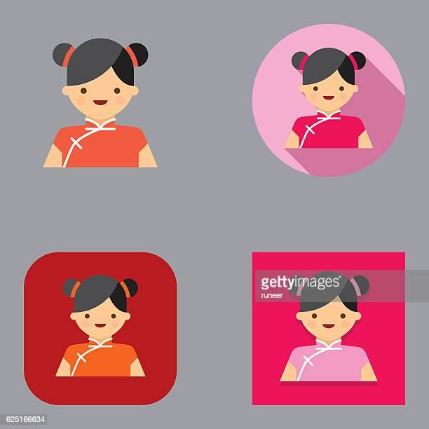 flat chinese new year girl avatar icons | kalaful series - updo点のイラスト素材/クリップアート素材/マンガ素材/アイコン素材