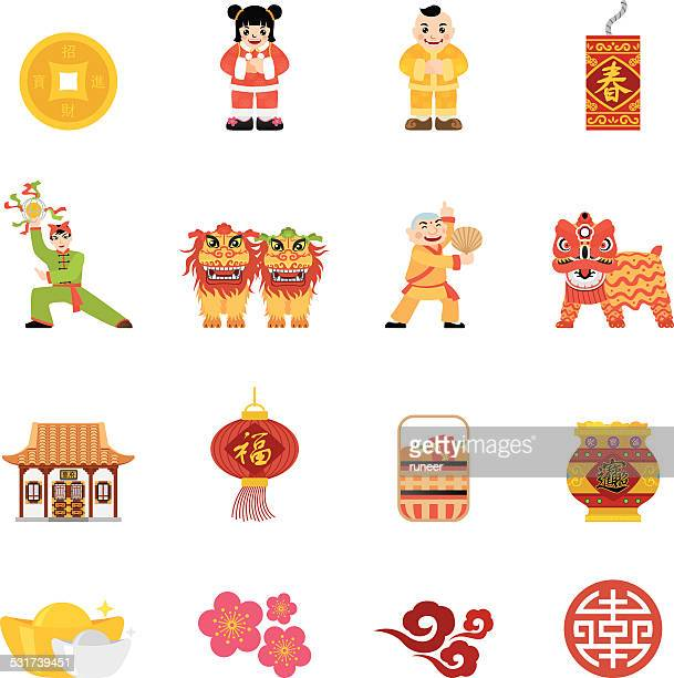 flat chinese new year icons | simpletoon series - traditional clothing stock illustrations
