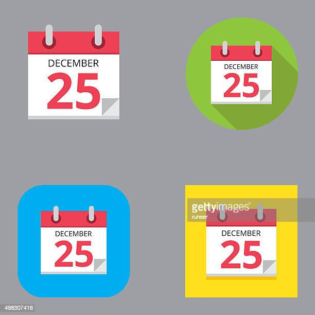 Flat Christmas Calendar icons | Kalaful series