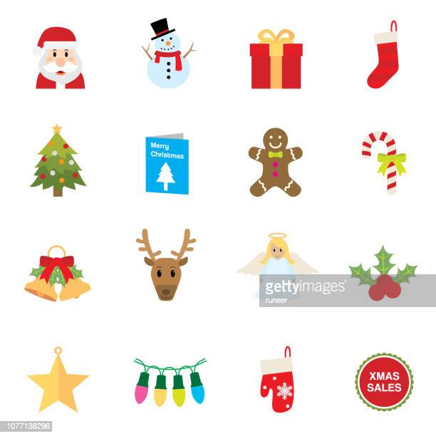flat christmas icons | simpletoon series - clip art stock illustrations