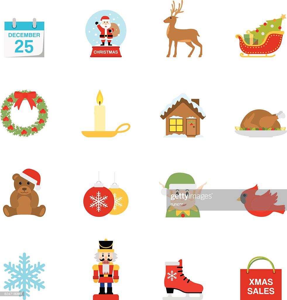Flat Christmas icons | Simpletoon series : stock illustration