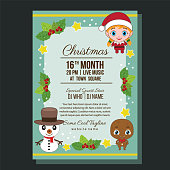 flat christmas party poster template with kid costume characters