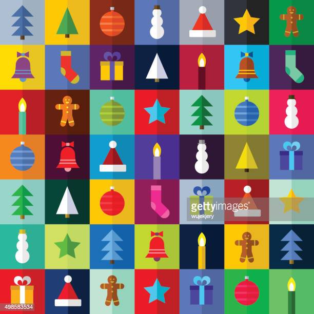 flat christmas pattern - vector Illustration