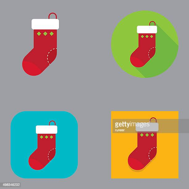 フラットアイコンのクリスマスストッキング