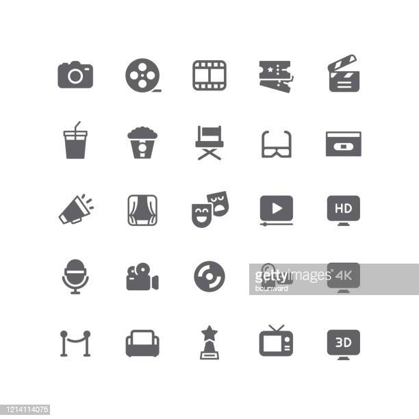 flat cinema & movie icons - arts culture and entertainment stock illustrations