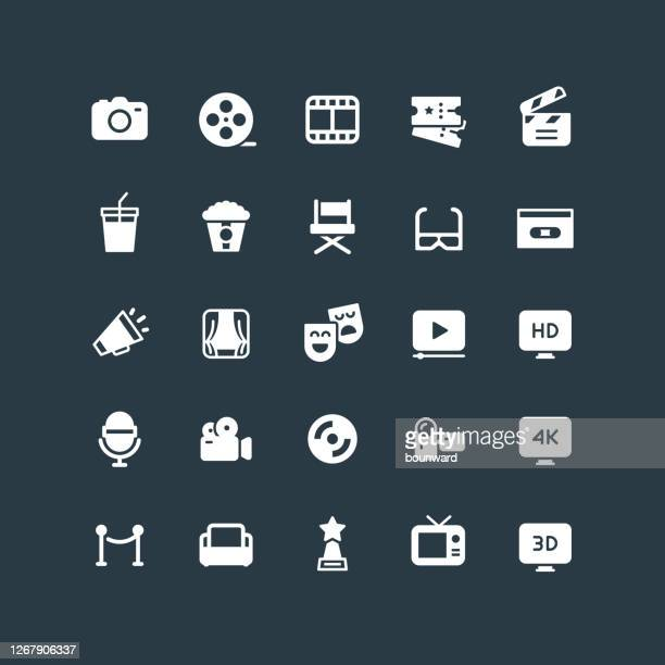 bildbanksillustrationer, clip art samt tecknat material och ikoner med flat cinema & filmikoner - film and television screening