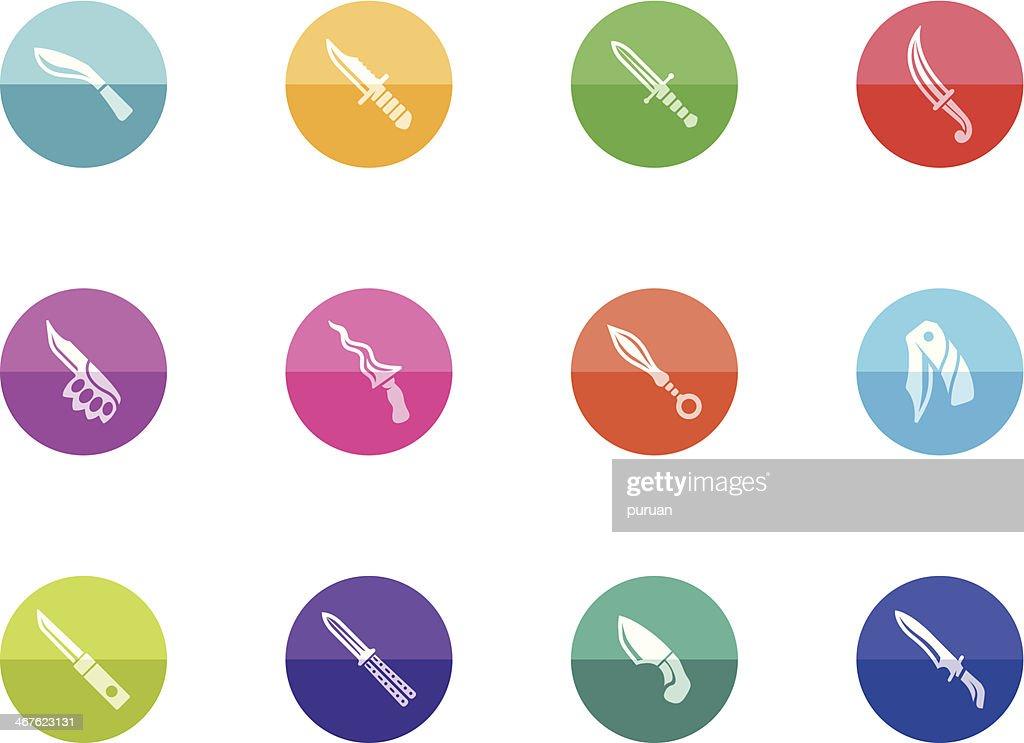 Flat Circle Icons - Knives