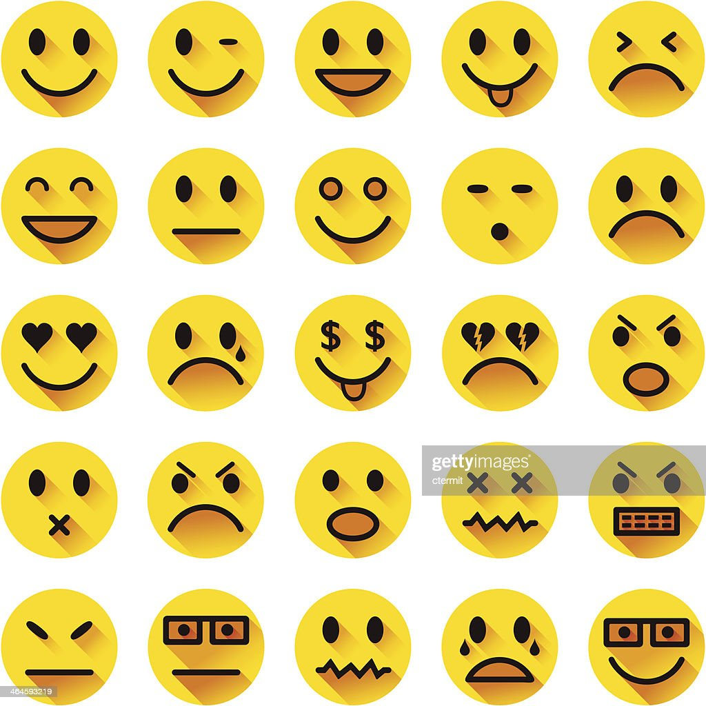 Flat circle smiley icons