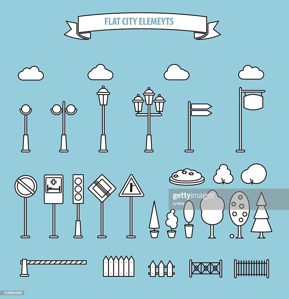 Flat city and outdoor elements. Street urban elements icon set