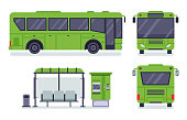 Flat city bus. Public transport stop, autobus ticket office and buses vector illustration set