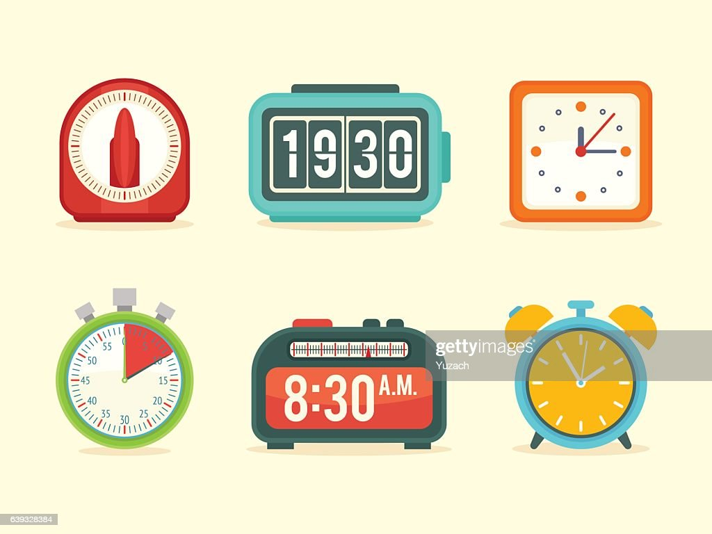 Flat clock icons set with digital and analog displays