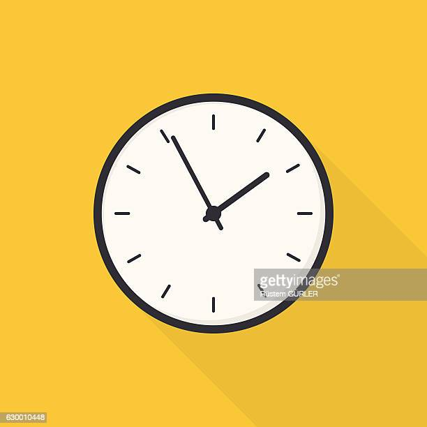 stockillustraties, clipart, cartoons en iconen met flat clock - klok