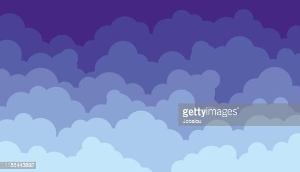flache clouds sky design hintergrund - bedeckter himmel stock-grafiken, -clipart, -cartoons und -symbole