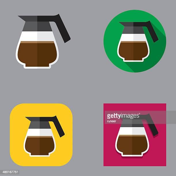 flat coffee icons | kalaful series - jug stock illustrations, clip art, cartoons, & icons