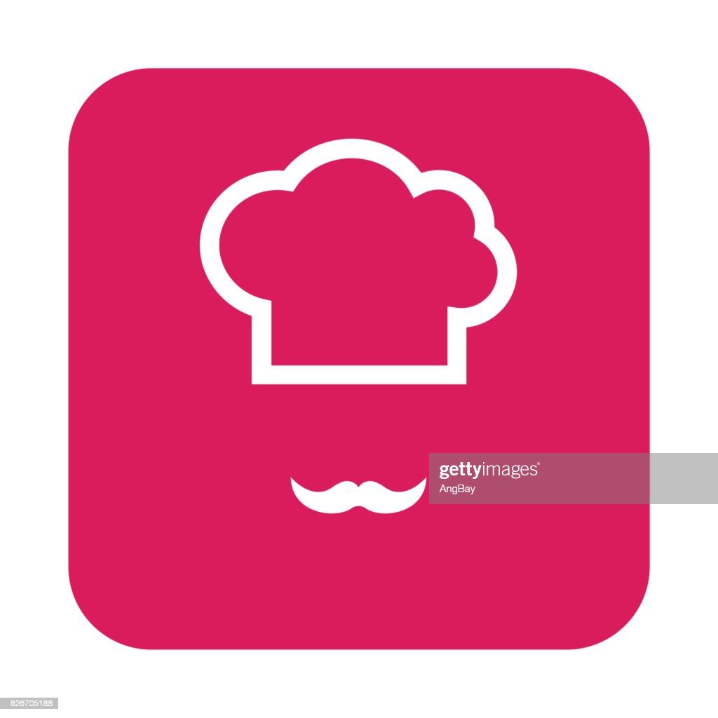 flat color chef hat icon