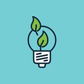 flat color efficient light bulb icon