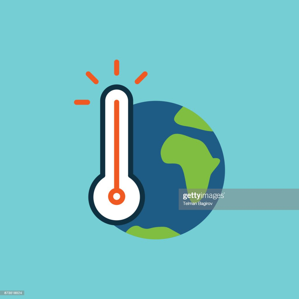 flat color global warming icon