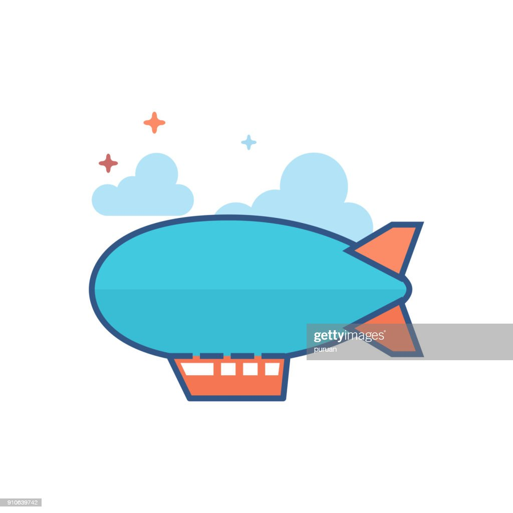 Flat Color Icon - Airship Balloon